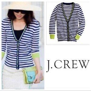 J Crew Striped Blue Accent Cardigan
